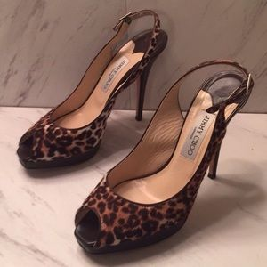 Jimmy Choo Leopard Calf Hair Peep Toe Heels